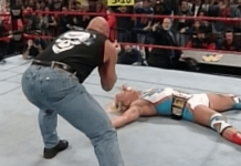 Steve Austin presents a few birds towards a stunned Jeff Jarrett on January 5, 1998's episode of Raw Is War