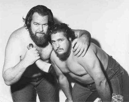Black and white photo of wrestling tag team The Kentuckians, Grizzly Smith and Luke Brown