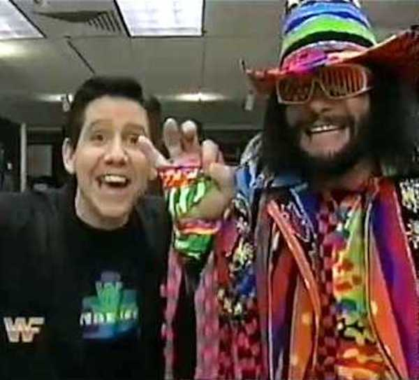 Todd Pettengill and Macho Man Randy Savage on the set of WWF Mania which taped live Saturday mornings from Stamford, CT.