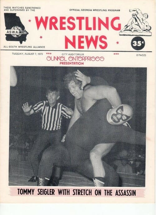 Tommy Seigler stretches out 'The Assassin' Jody Hamilton in Ann Gunkel's All-South Wrestling Alliance