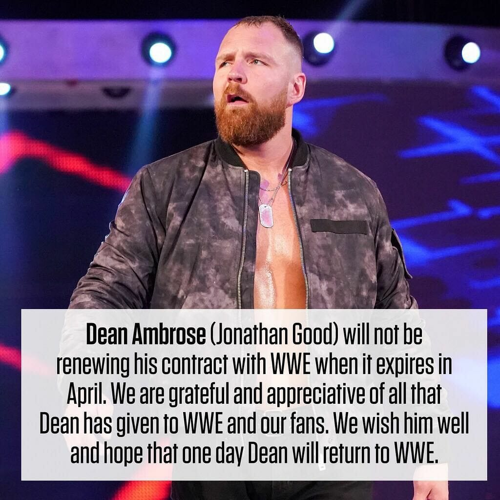 The AEW and WWE Conspiracy - WWE statement on Dean Ambrose leaving the company from January 2019