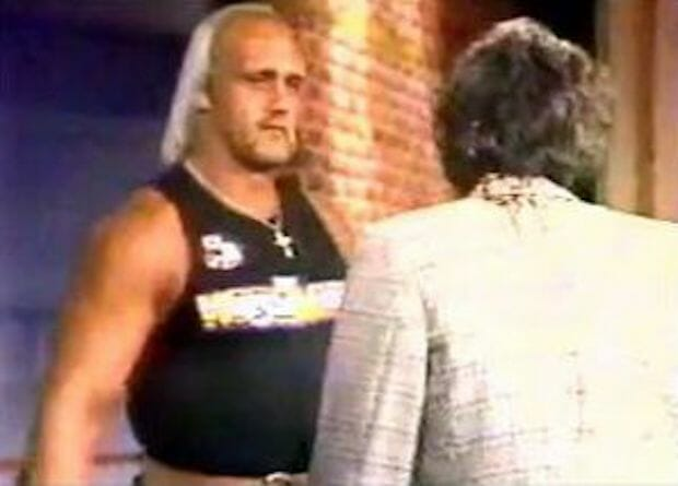 Hulk Hogan moments before infamously showing Richard Belzer that wrestling, in fact, can be very real.