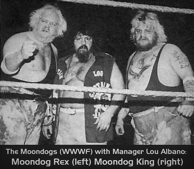 The first incarnation of The Moondogs (Rex and King in the WWF). Moondog Spot soon replaced King and teamed with Rex until 1987.
