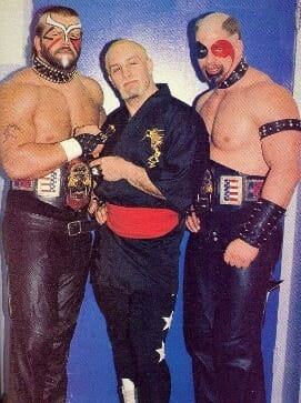 Leon White had to ask Hawk of the Road Warriors (right) for permission to pattern his new haircut to look like his.