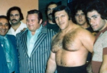 Manager Arnold Skaaland and Bruno Sammartino with a group of Italians backstage.