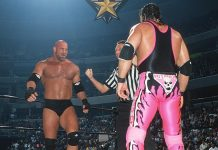Goldberg faces off against Bret Hart at WCW Starrcade 1999. An errant kick later in the match would mark the end of Bret Hart's illustrious career.