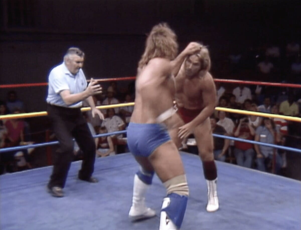 Kerry Von Erich delivering stiff shots to Terry Taylor at a May 21st, 1988 WCCW taping.