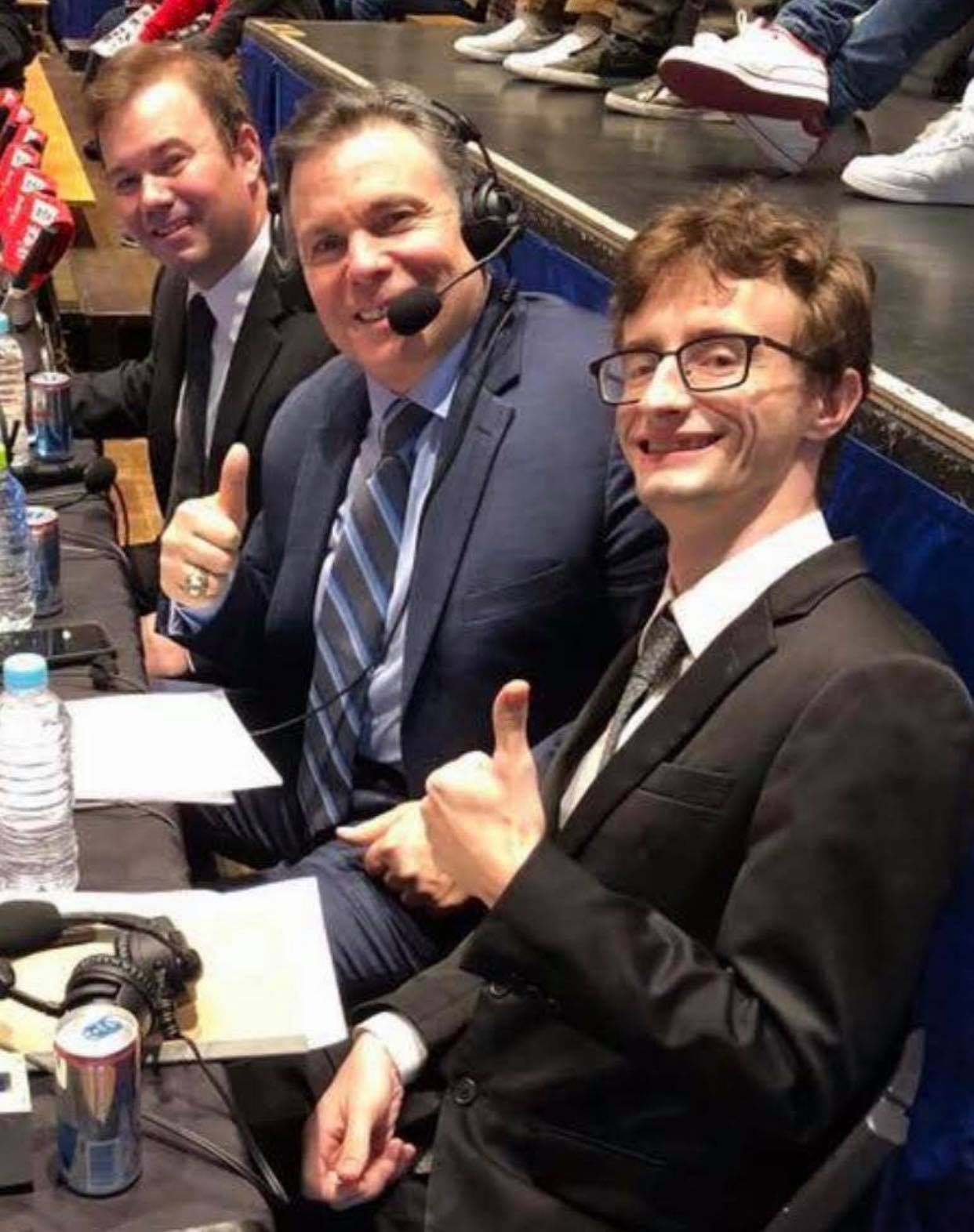 Mavs Gillis, Lanny Poffo, and Chris Charlton commentating for New Japan in 2018
