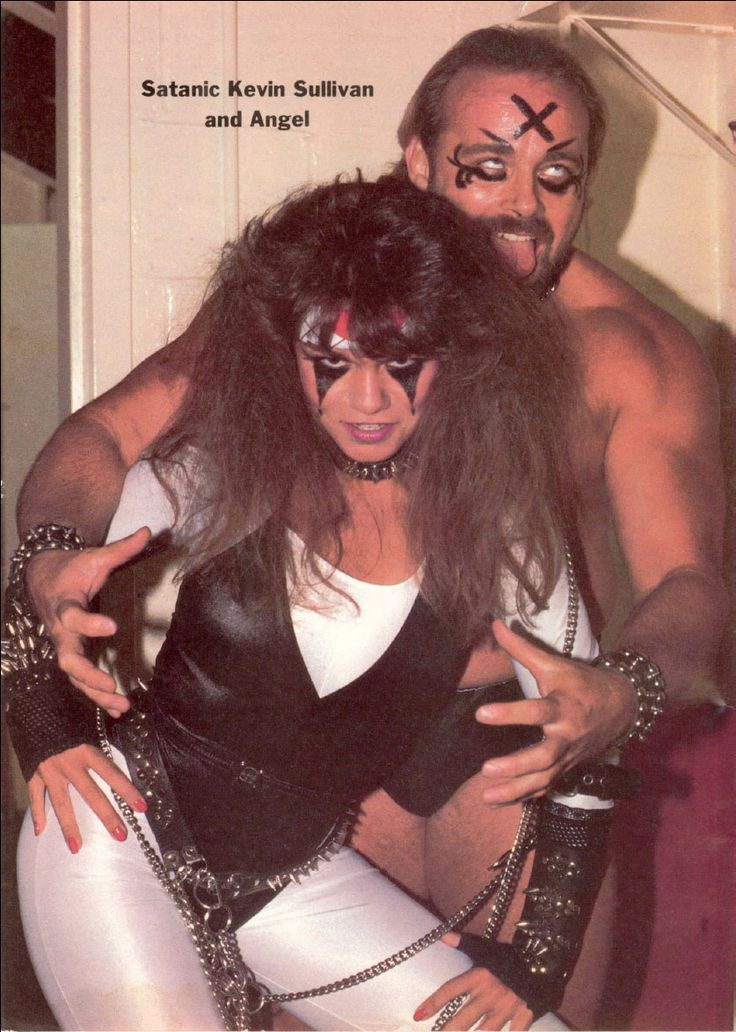 """Satanic Kevin Sullivan and Angel (Nancy Benoit). Note the word """"Satanic"""". A word used in the magazines, but never by Sullivan or his army."""