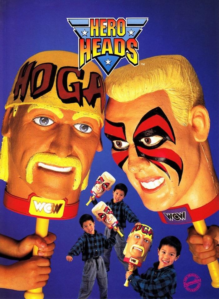 Bizarre WCW 'Hero Heads' merch featuring Hulk Hogan and Sting