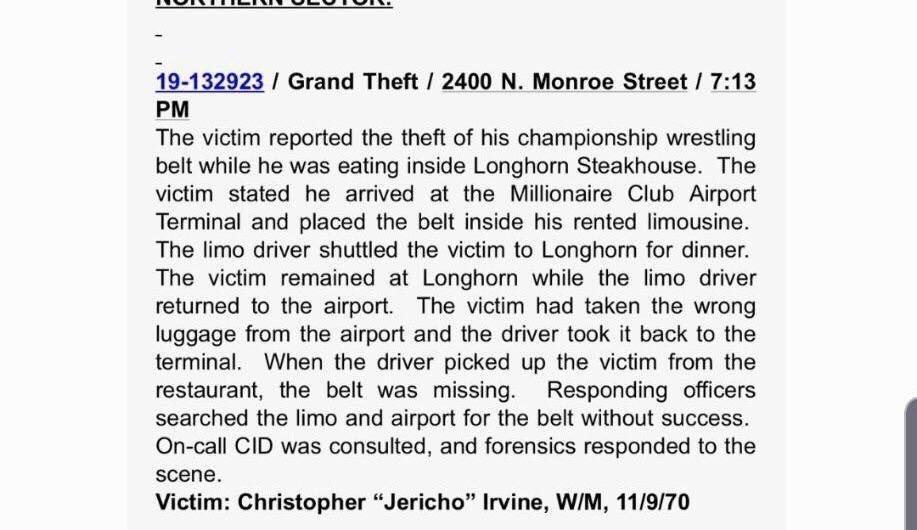 Police report of Chris Jericho's stolen AEW belt.