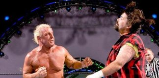 Ric Flair throws a few jabs at Mick Foley at WWE Vengeance 2006.