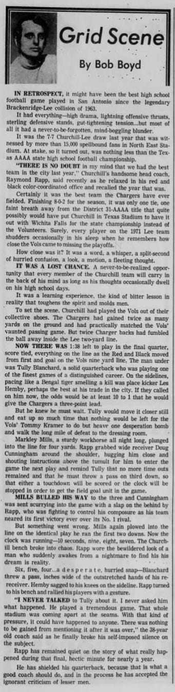 'Tully Blanchard was playing one of the finest games of a distinguished career.' (San Antonio Express, Friday, September 1st, 1972 edition)