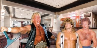 The Infamous Sid Vicious Squeegee Incident with Brian Pillman and Mike Graham. Life-like photoshop rendition courtesy of JP Zarka of ProWrestlingStories.com. For an added touch of reality, in the background of this photo is the actual Ramada hotel bar where this confrontation took place.
