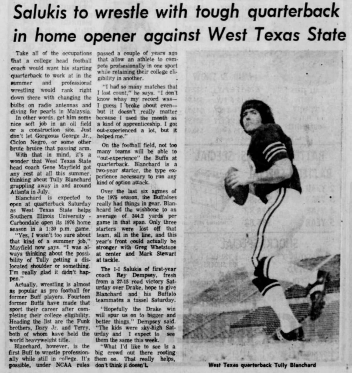 Tully Blanchard, while quarterback of West Texas State, was featured in this Southern Illinoisan newspaper article. (Monday, September 20, 1976 edition)