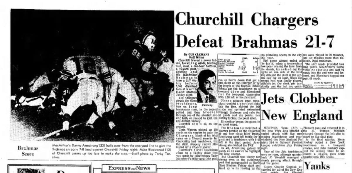 As a quarterback and punter, Tully Blanchard leads his Churchill Chargers team to a win against the Brahmas. (Express and News, September 11, 1971 edition)