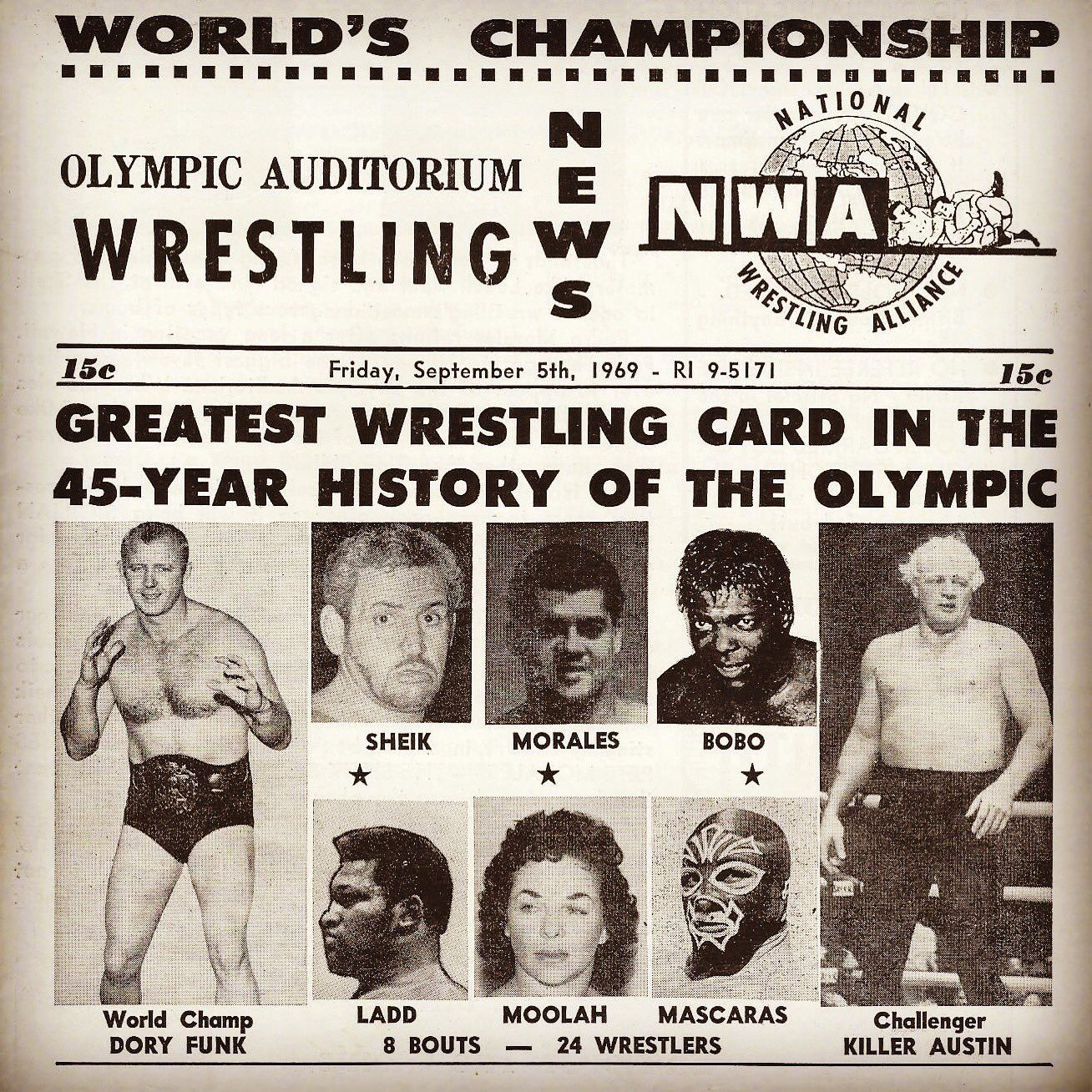 """When NWA World champion Dory Funk came to Los Angeles, CA., """"Killer"""" Buddy Austin was tasked to represent the promotion and challenge for the gold."""
