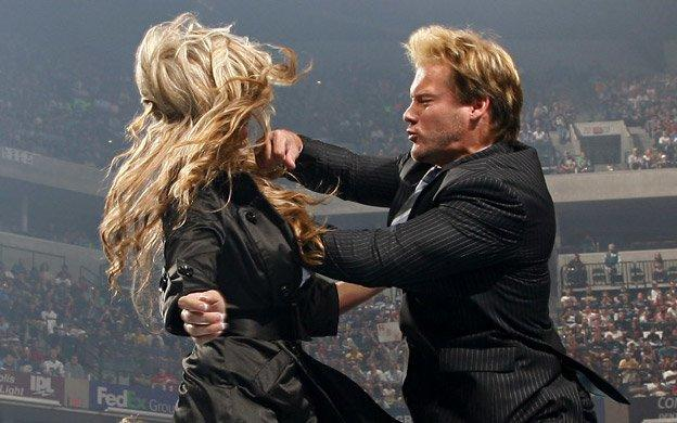 Chris Jericho accidentally punches Rebecca while aiming for Shawn Michaels.
