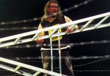 """A bloodied Mick Foley (competing as Cactus Jack) competing in the finals of Japan's IWA Kawasaki Dream """"King of the Deathmatch"""" tournament on August 20th, 1995."""