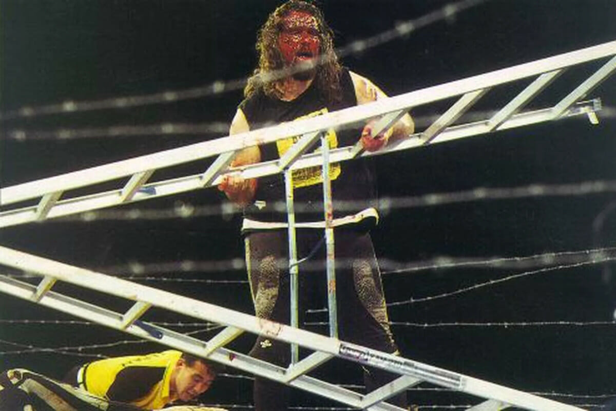 A bloodied Mick Foley (competing as Cactus Jack) competing in the finals of Japan's IWA Kawasaki Dream King of the Deathmatch tournament on August 20th, 1995.