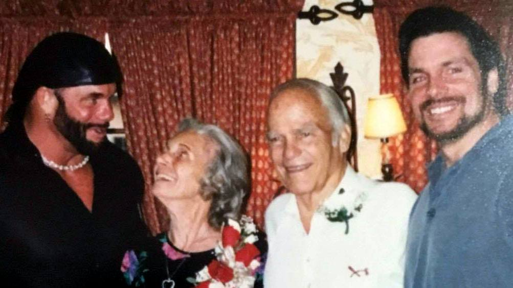 Randy Savage and Lanny Poffo with parents Judy and Angelo Poffo on their 50th wedding anniversary, June 5th, 1999.