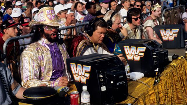 Randy Savage doing color commentary at WrestleMania IX alongside Jim Ross and Bobby Heenan