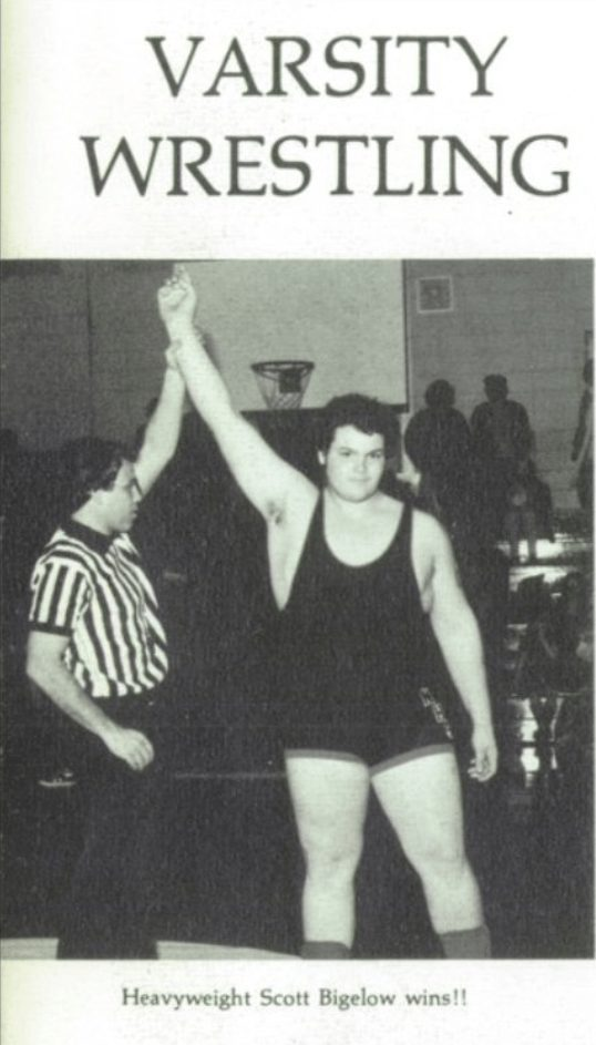 No flames in sight! Bam Bam Bigelow, then just known by his real-name Scott Bigelow, during his varsity wrestling years.
