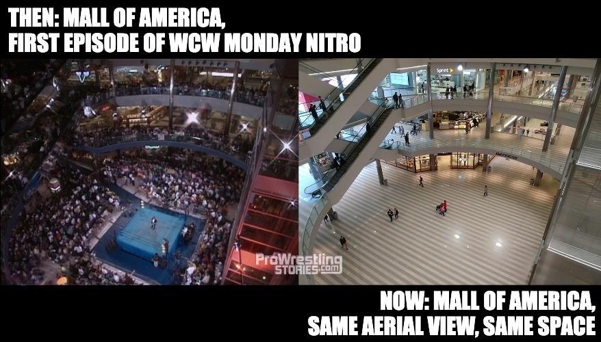 Mall of America first ever WCW Monday Nitro, then vs now | Nostalgic Wrestling Photos