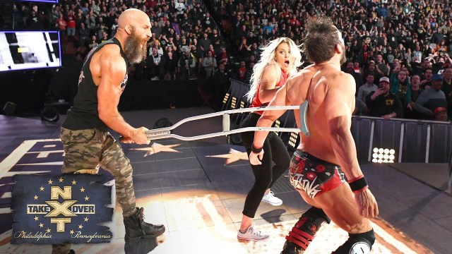 Ciampa attacks Gargano as Gargano's wife Candice LeRae looks on in horror - NXT TakeOver: Philadelphia