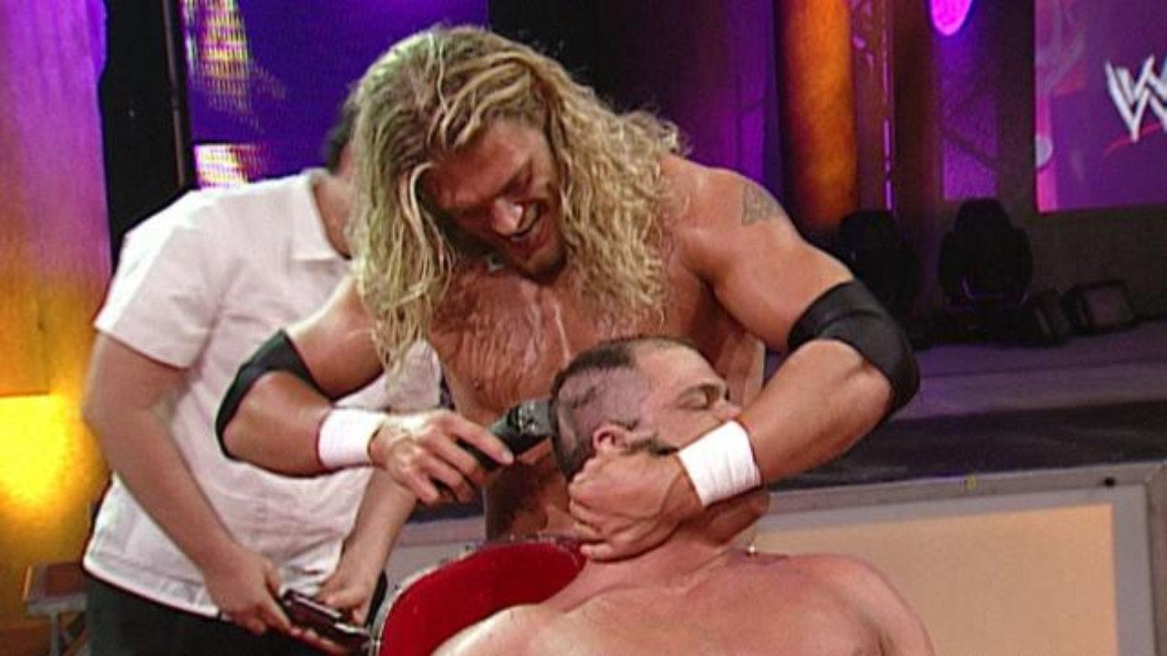 Edge shaving Kurt Angle bald