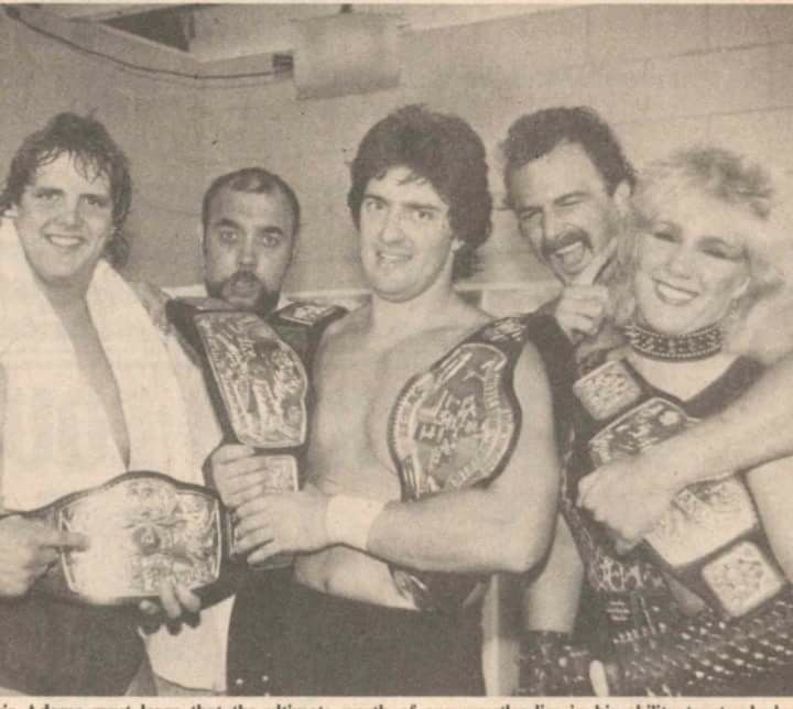 Chris Adams, Gino Hernandez, Gary Hart, Jake Roberts, and Andrea the Lady Giant (Baby Doll) in WCCW.