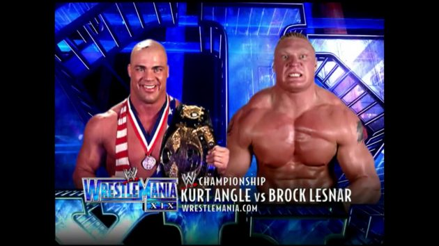 Match card graphics for the only WrestleMania main event to use real names only.
