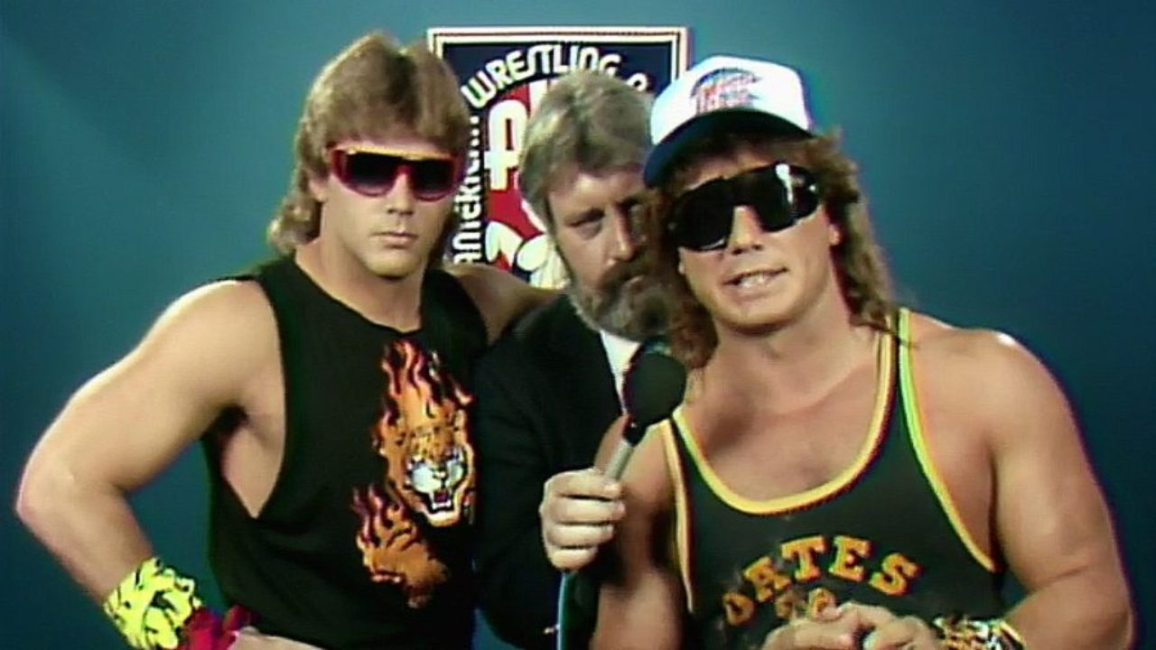 Shawn Michaels and Marty Jannetty as 'The Midnight Rockers' in the AWA