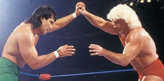 Ricky Steamboat and Ric Flair lock-up at Chi-Town Rumble, February 20, 1989.