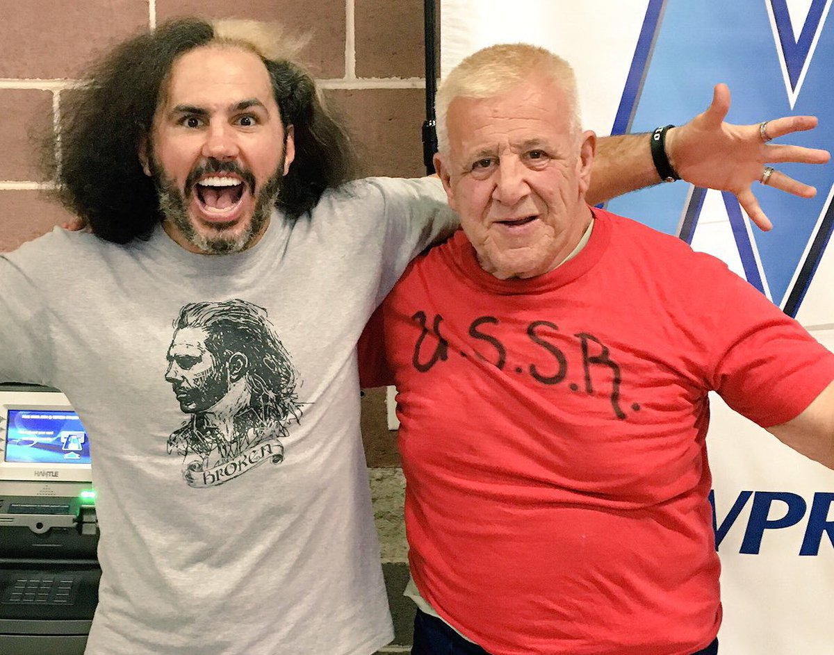 Matt Hardy shares a smile with the man he debuted against, Nikolai Volkoff.