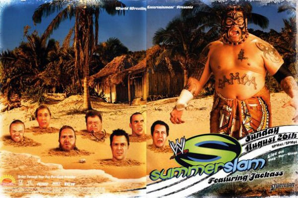 The Jackass crew and Umaga promoting their canceled handicap match for SummerSlam 2007.