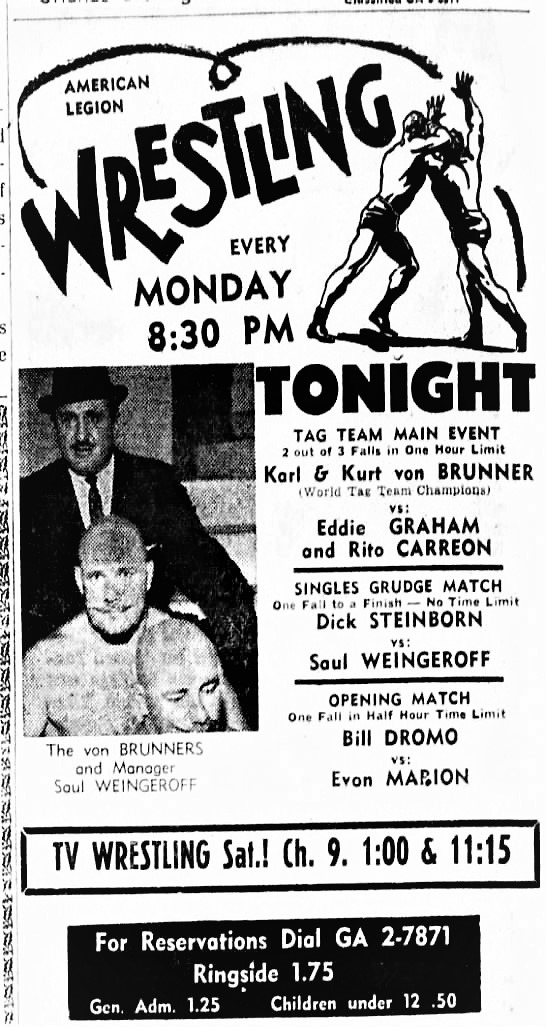Gino Hernandez adored his stepfather Luis Hernandez and entered wrestling in part to honor him. Here we see a newspaper clipping where Luis (also called Rito Carreon), teamed with Eddie Graham.