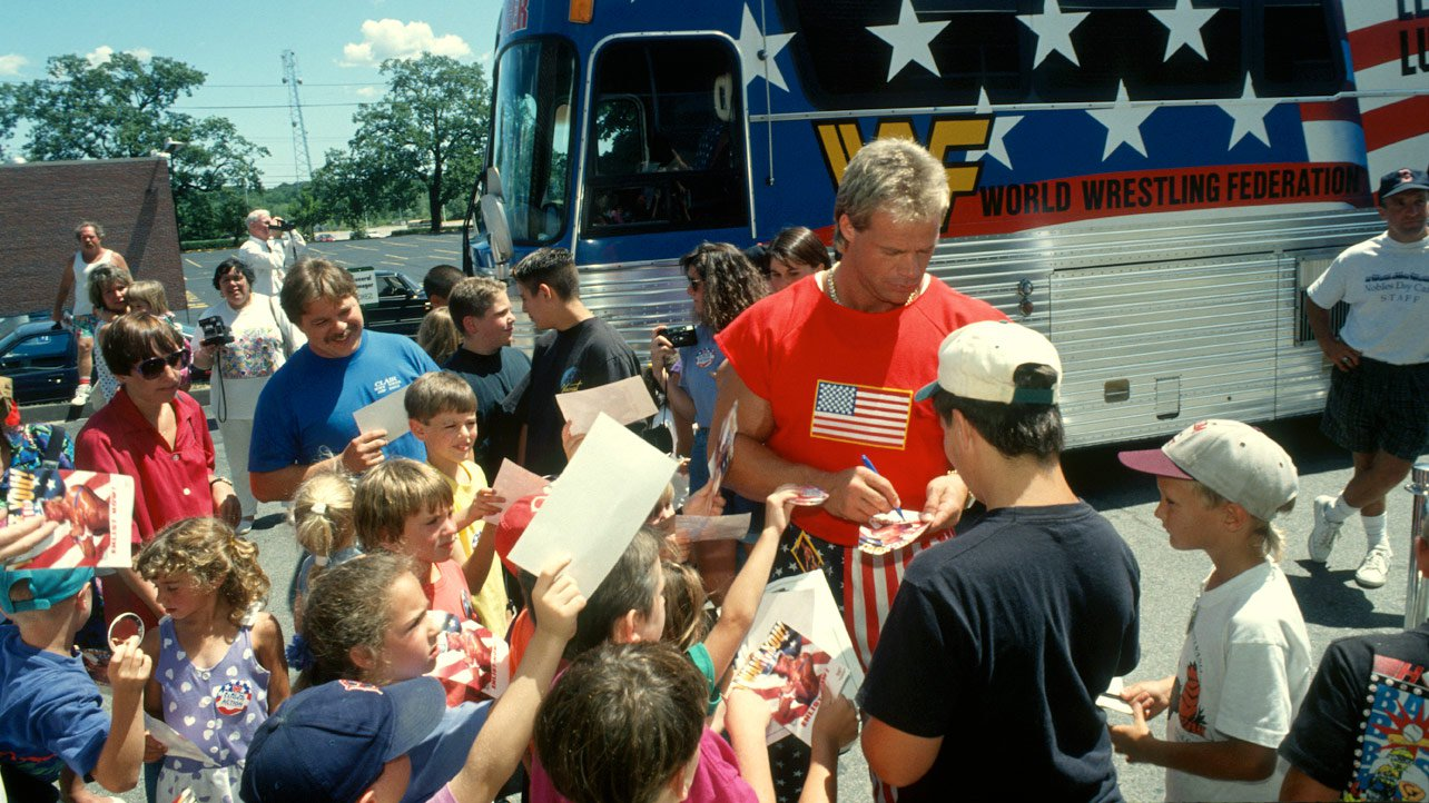Lex Luger mingles with fans outside of his Lex Express tour bus in '93.