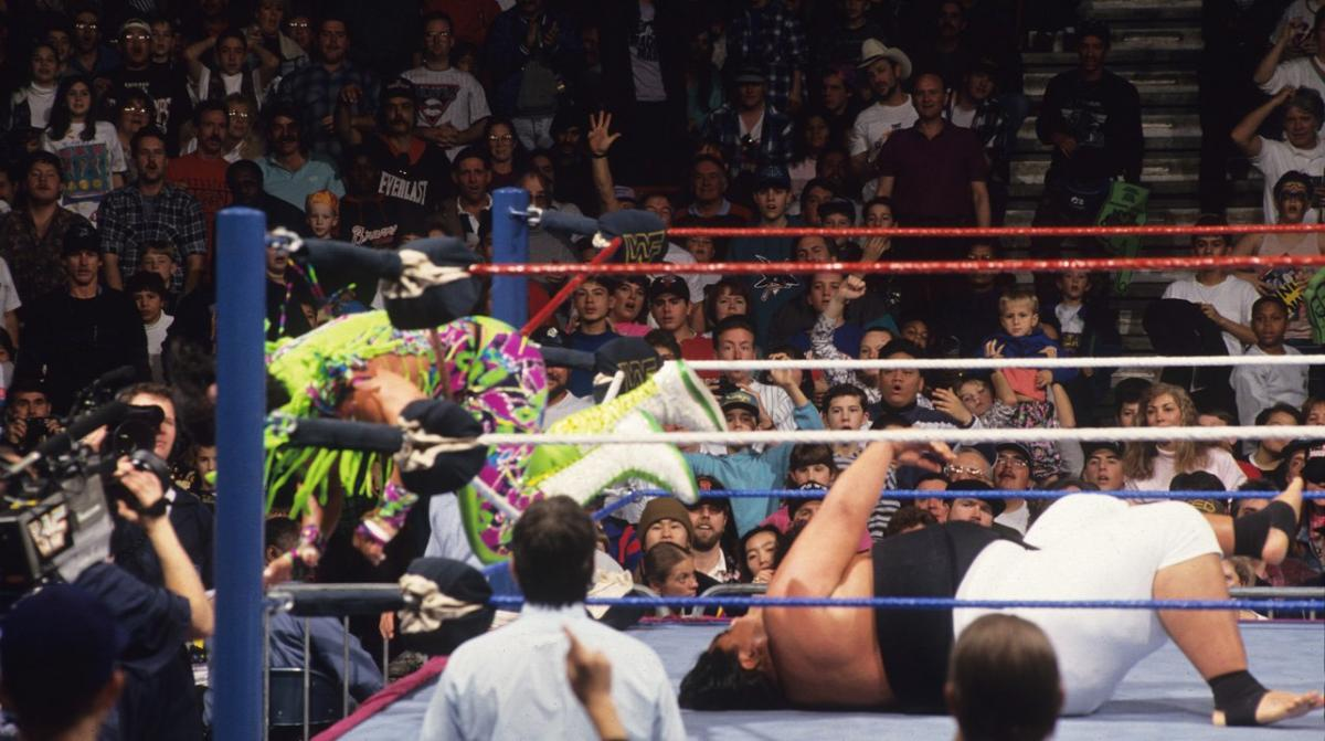 In an unusual moment in the 1993 Royal Rumble, 'Macho Man' Randy Savage goes for the pin on Yokozuna. In turn, Yoko bench presses him over the top rope for the victory.