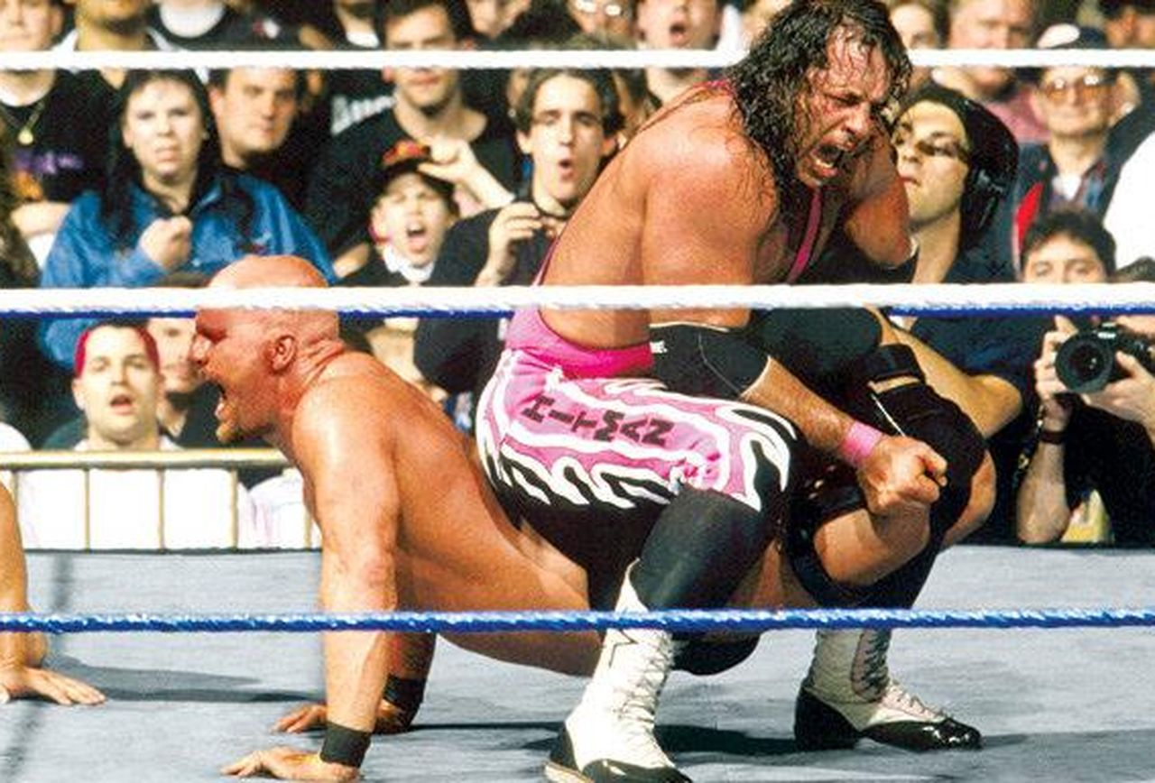 'Stone Cold' Steve Austin and Bret Hart at WrestleMania 13