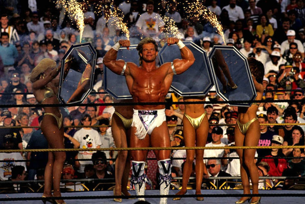 The Narcissist Lex Luger makes a spectacular entrance at WrestleMania IX.