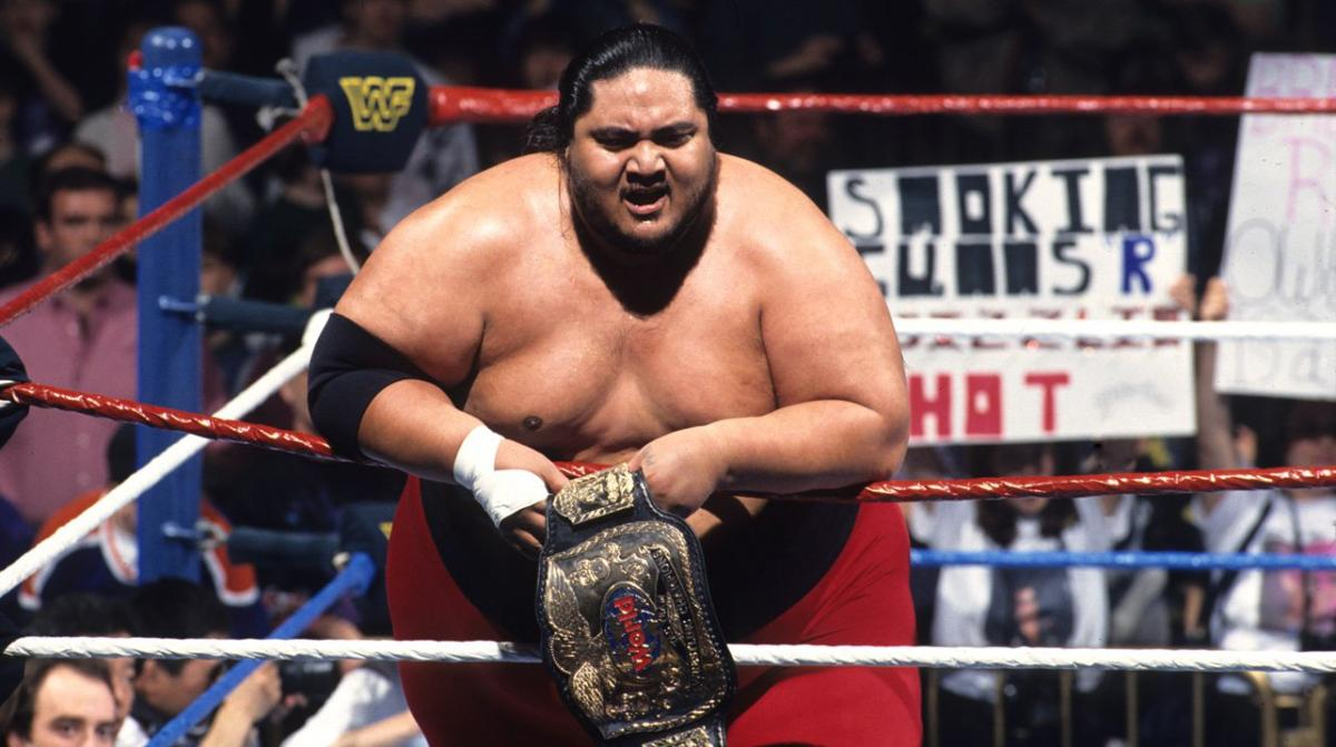 Yokozuna with the WWF Tag Team Championship which he held two times alongside Owen Hart in 1995.