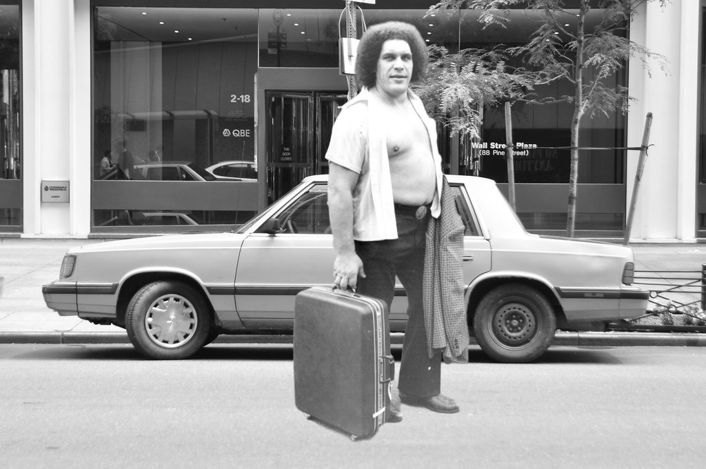 What André The Giant standing in front of a Chrystler K car might have looked like! [Photoshop by ProWrestlingStories.com's JP Zarka]