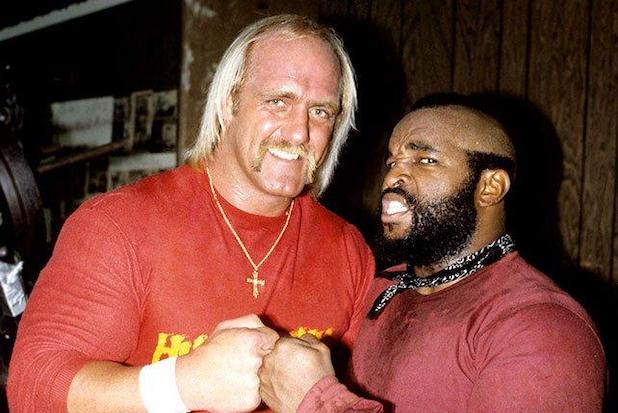 Hulk Hogan with the other star made by Rocky III, Lawrence Tureaud, a.k.a. Mr. T.