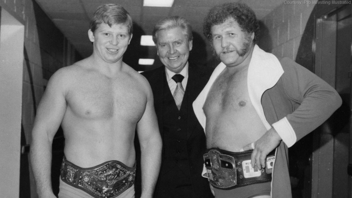 Bob Backlund faced countless quality opponents during his almost six-year WWF championship run. Seen here pictured with Vince McMahon Sr. and NWA World Heavyweight Champion Harley Race.