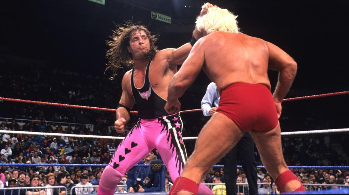 Bret Hart throws some blows to Ric Flair during their WWF Championship match in Saskatoon, October 12, 1992.