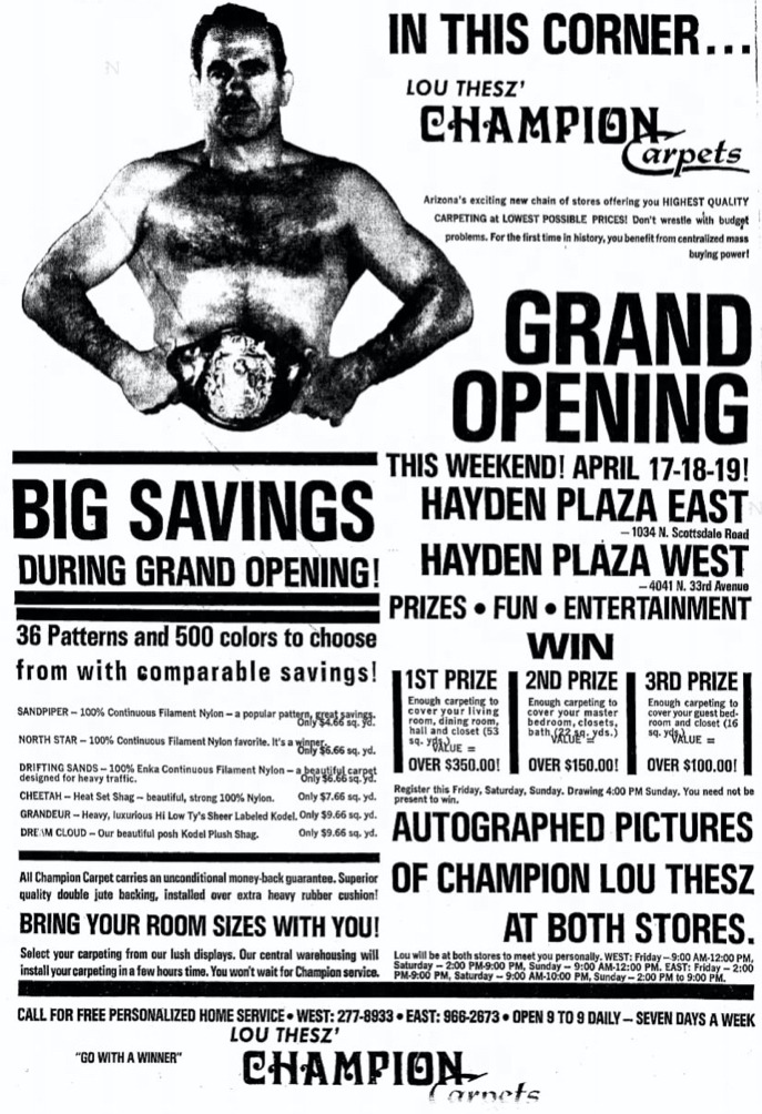 A full-page advertisement for Lou Thesz Championship Carpets grand opening. Arizona Republic, Friday, April 17, 1970 edition.