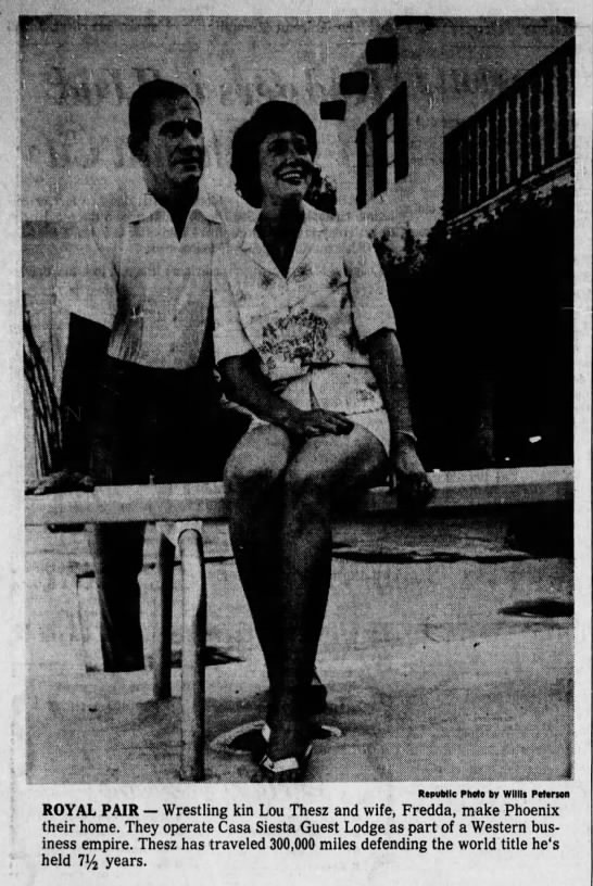 Lou Thesz and wife Fredda featured in a newspaper advertisement for Casa Siesta Guest Lodge. Arizona Republic, September 5, 1965 edition.
