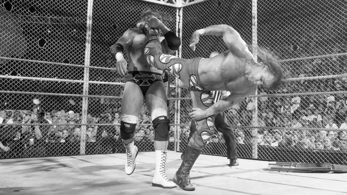 HBK hits the Sweet Chin Music on Triple H during the longest PPV one-on-one match in WWE history.
