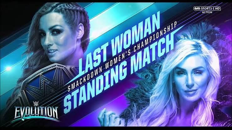 Becky Lynch vs Charlotte Flair. Match graphics for the record-breaking longest women's match on a WWE pay-per-view.